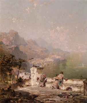 Amalfi The Gulf Of Salerno scenery Franz Richard Unterberger Oil Paintings